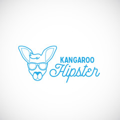 Line Style Abstract Vector Kangaroo Hipster Face Logo Template.