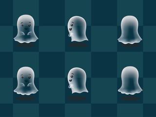 Big Head Ghost Animation Cartoon Vector