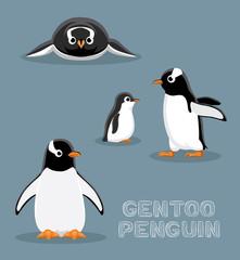 Gentoo Penguin Cartoon Vector Illustration