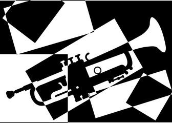 Trompette pop art en noir et en blanc