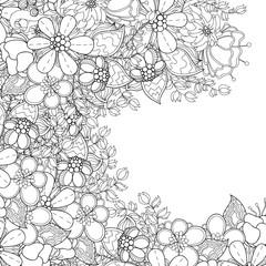 Zentangle styled flowers decorative border. Doodle art flower desing element.