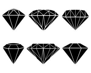 Black silhouettes of diamonds, vector