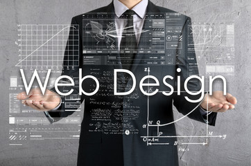 businessman presenting Web Design concept of his own hands: