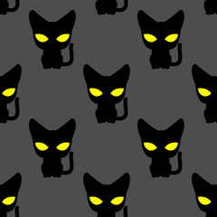 Black cat with yellow eyes at night seamless pattern. Vector bac