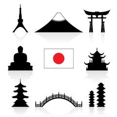 Japan Landmarks Icon Set.