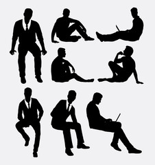 Fototapeta Man sitting silhouettes. Good use for symbol, logo, web icons, or any design you want.