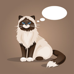 Cat with a cloud of thoughts. Vector Illustration