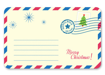 Template New year's letter to Santa Claus with stamp and postage