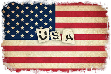 Grunge Flag of USA with text