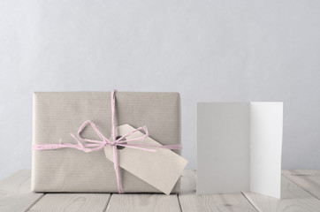 Simply Wrapped Gift Box with Icy Pink Raffia and Greeting Card