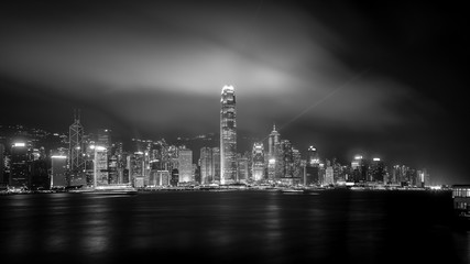 Wall Mural - Hong Kong cityscape black and white Tone