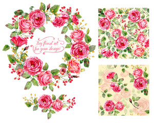 Set of different red, pink flowers, frame, decorative element and two seamless patterns for design. Watercolor roses, leaves. Floral set for your design.