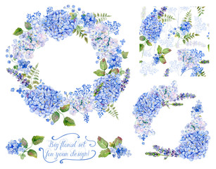 Set of different blue, cyan hydrangea, lavender, currant, frame, decorative corners and one seamless pattern for design. Watercolor flowers, leaves. Floral set for your design.