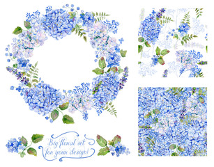 Set of different blue, cyan hydrangea, lavender, currant, frame and two seamless pattern for design. Watercolor flowers, leaves. Floral set for your design.