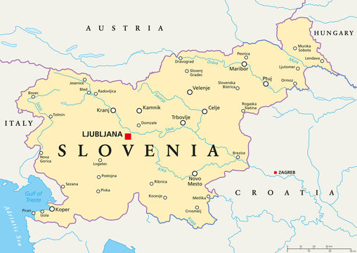 Slovenia political map with capital Ljubljana, national borders, important cities, rivers and lakes. English labeling and scaling. Illustration.