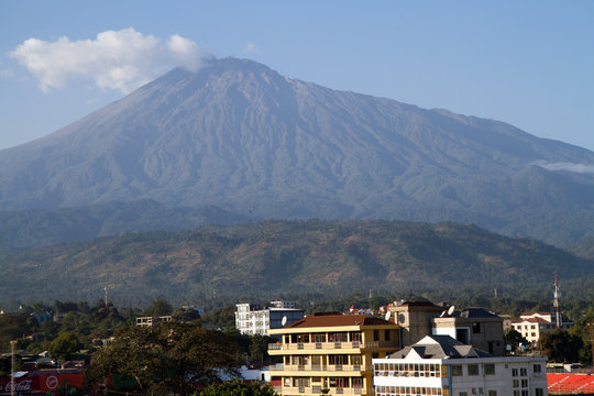 arusha landscape with the mount meru in the background