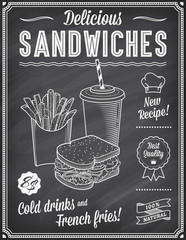 Grunge Chalkboard Fast Food Menu Template 3