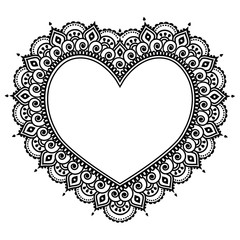 Heart Mehndi design, Indian Henna tattoo pattern - love concept