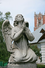 MOSCOW, RUSSIA - JULY 27, 2009: Statue of angel in Novodevichy Convent, Moscow