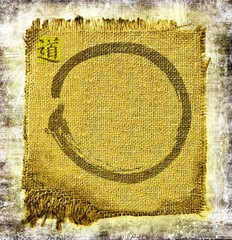 Zen circle on frayed jute. With ideogram Dao, the method.