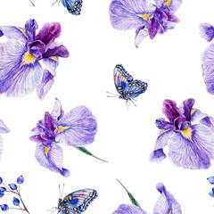 Seamless pattern. Watercolor iris, leaves, butterfly.