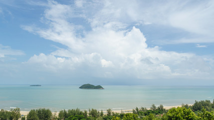 Sea and cloudy sky at samila beach songkhla hatyai thailand