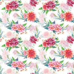 Seamless pattern with red dahlia.