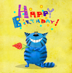 Birthday Card Blue Cat with Flower
