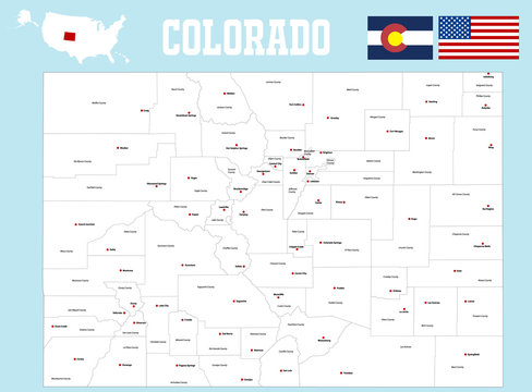 A large and detailed map of the State of Colorado with all counties and county seats