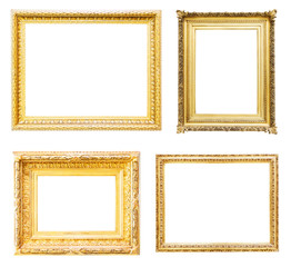 Set of gold picture frames. Isolated over white