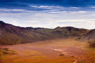 View of path and desert of Mount Bromo Volcano, East Java