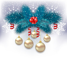 New Year background with fir branches and glass balls