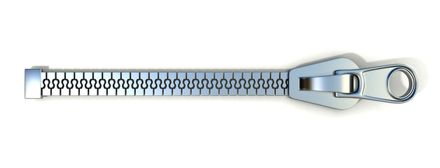 Metal zipper. 3D render illustration isolated on white background