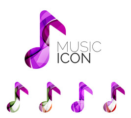 Set of abstract music note icon, business logotype concepts