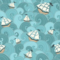 Marine background. Ships and waves sea .seamless pattern.