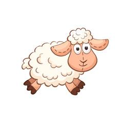 Cute cartoon animal. Cute sheep character. Stuffed toy.