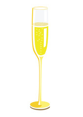 Flat image of a champagne glass