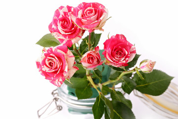 bouquet of roses in a glass jar on a white background
