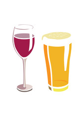 Flat vector image of a wine and beer glass