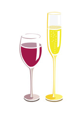 Flat vector image of a wine and champagne glass