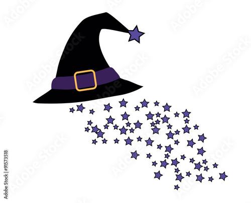 Schwebender Hexenhut Mit Kleinen Sternchen Stockfotos Und