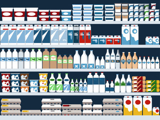 Grocery store shelves with dairy products display, vector background, EPS 8, no transparencies