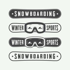 Vintage snowboarding logos, badges, emblems and design elements.