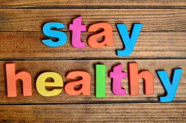 Colorful stay healthy word