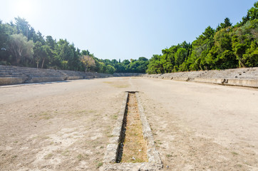 Sunny view for ancient stadium on Rhodes