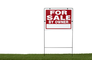 for sale sign on grass with white background
