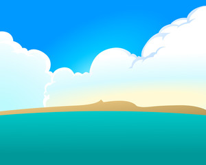 Great cumulus clouds and the sea with blue sky in the background. Empty space leaves room for design elements or text. Cartoon style.