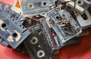 audiocassette on a colored background
