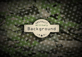Camouflage military pattern with stars background. Vector