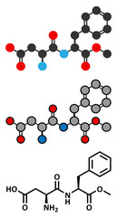 Aspartame artificial sweetener molecule (sugar substitute).